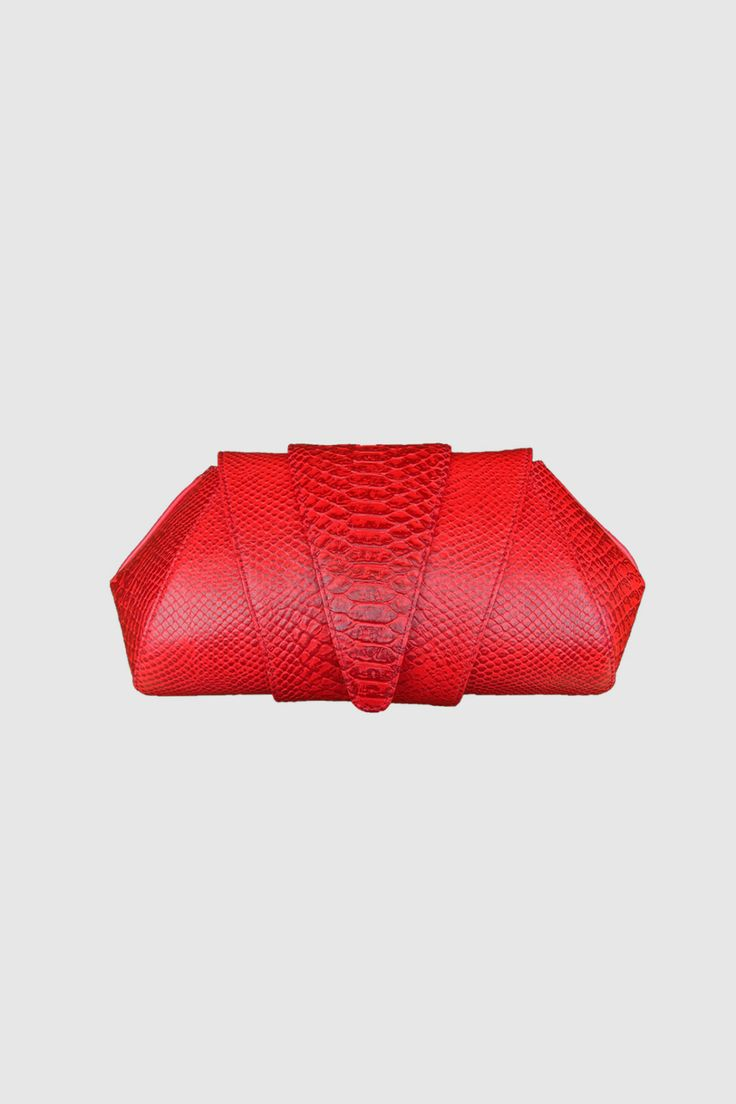 Red Ferrari Snakeskin Embossed Leather Clutch
