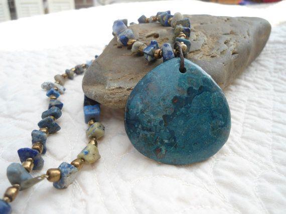 Natural Rhodonite Gemstone Blue/Teal Pendant Necklace Lapis Beads egl ooak rococo southwest hippie boho sundance style jewelry handmade by LandofBridget