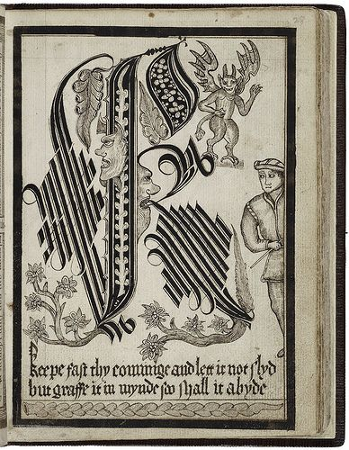 The images above come from the amazing 'A Booke of Diverse Devices and Sorts of Pictures With the Alphabets of Letters..' [Shelfmark V.a. 311.] (created: 1585-1598, 1622) by Thomas Fella (d. 1637).
