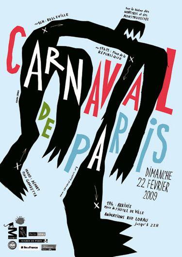 Adrien Zammit, affiche pour le Carnaval de Paris, association Macaq, projet non retenu, décembre 2008