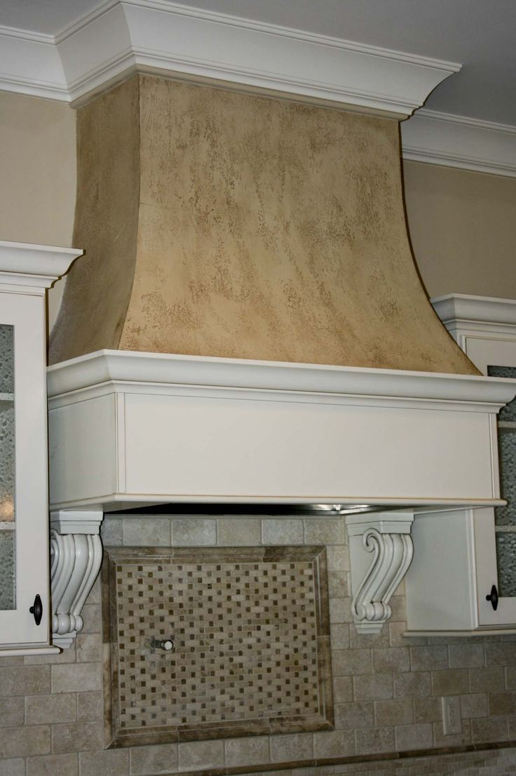 Custom Curved Drywall Range Hood With Faux Finish With