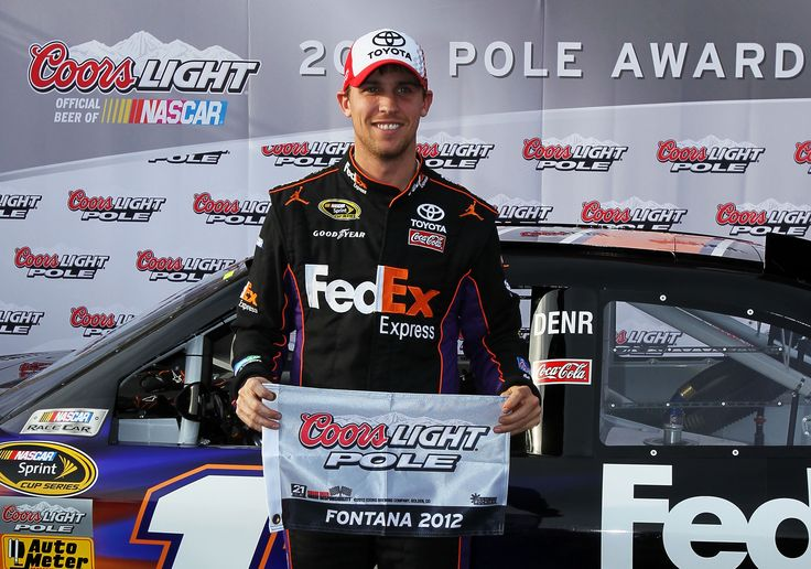 Denny Hamlin took the pole in Friday's NASCAR Qualifying Day, earning the top starting position in Sunday's Auto Club 400.