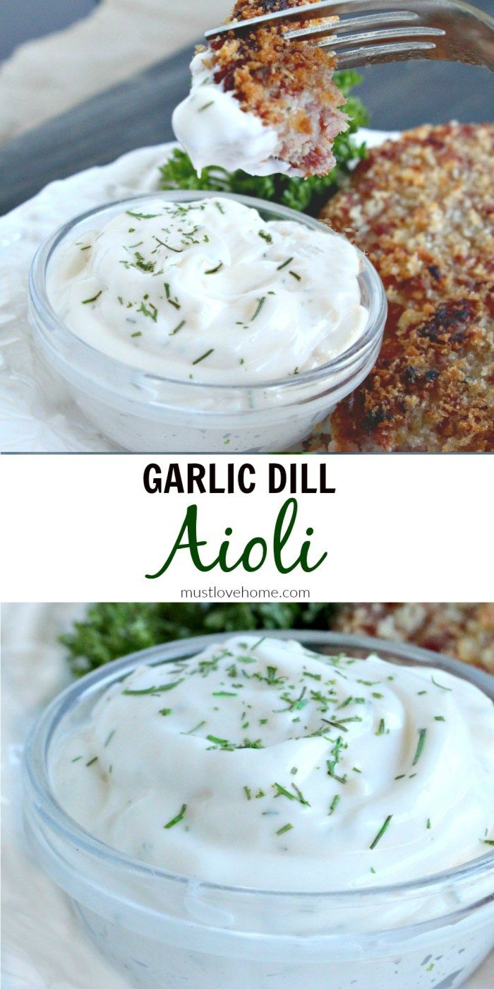 Making delicious homemade Garlic Dill Aioli from scratch only takes a few minutes and the result is a flavorful dip or spread that packs a real raw garlic punch.
