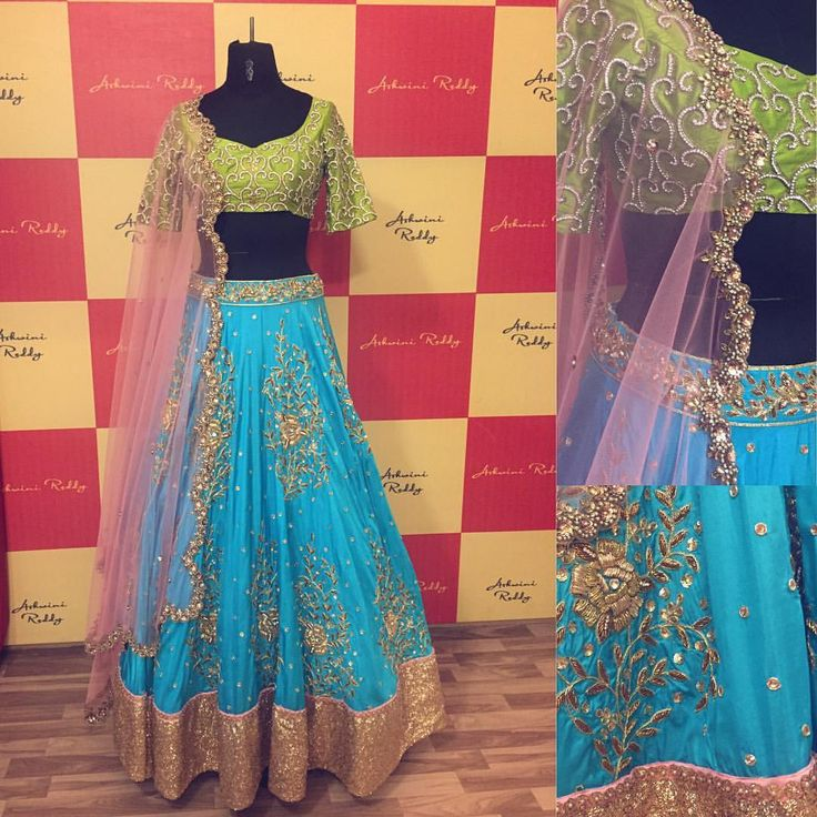 ... and this beauty happened to us this week!Happy weekend guys!Grab your  bridal  silk  zardozi  embriodery  lehenga s..  ashwinireddy  arbride  blue  green  pink  southindia  sangeet  reception  16 October 2016