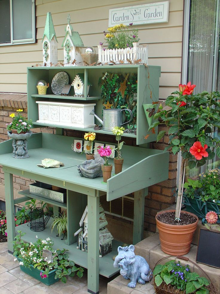 52 best images about potting benches tables cabinets on for Potting shed plans diy blueprints