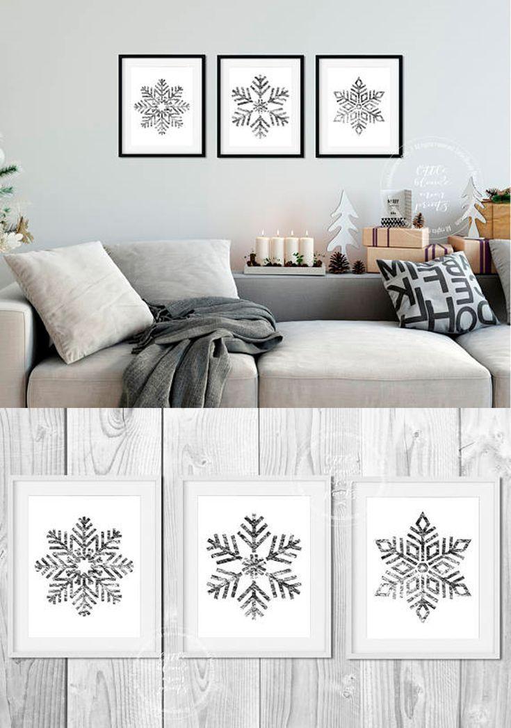 Set of 3 Silver Snowflake Printable Wall Decor - Holiday - Winter - Digital Download - Modern - Simple - Wall Art