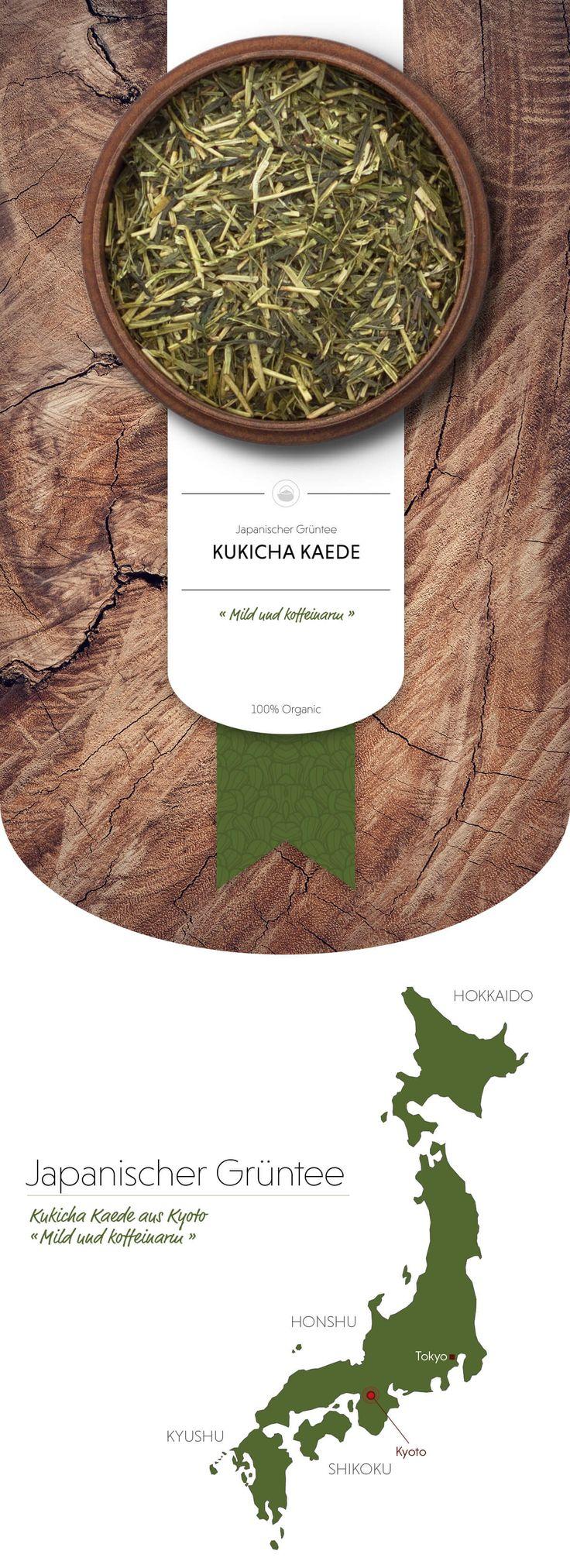 Kukicha Kaede Bio Grüntee | Kukicha wird nicht nur aus Blättern, sondern auch aus Stängeln hergestellt. Deswegen hat er einen relativ geringen Koffeingehalt und bietet sich auch für den Genuss am Abend an. Bei unserem Kukicha Kaede kommen ausschließlich Pflanzenteile des edlen Gyokuro zum Einsatz. Seine typischen Merkmale sind die helle, gold-grüne Tasse und das milde Aroma ganz ohne Bitterkeit. #grünerTee #Grüntee #japanischerGrüntee #Japan #japanischerGrünerTee #Matcha #MatchaTee…
