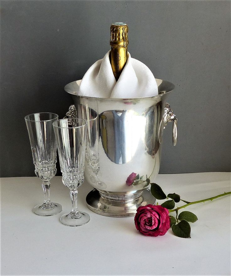 Champagne Ice Bucket. French Vintage Silver Plate Champagne Ice Bucket. Wine Ice Bucket. Large French Champagne Ice Bucket. GIFT FOR HIM. by JadisInTimesPast on Etsy