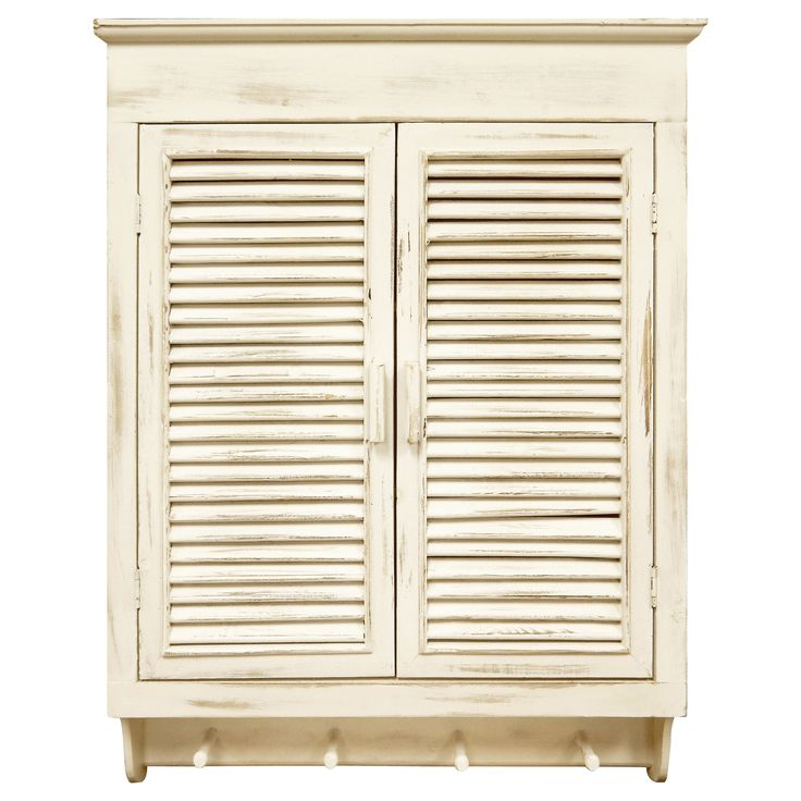 This distressed cream finished Louvered wall cabinet is an attractive way to add storage to your bathroom or other small area without taking up valuable floor space. A French door style opening completes the look.
