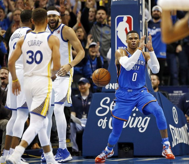 Academy of Scoring Basketball - Oklahoma Citys Russell Westbrook (0) mimes a Eurostep near Golden States Andre Iguodala (9), Stephen Curry (30) and JaVale McGee (1) after using the move to score in the third quarter during an NBA basketball game between the Oklahoma City Thunder and the Golden State Warriors at Chesapeake Energy Arena, Wednesday, Nov. 22, 2017. The Thunder won 108-91. Photo by Nate Billings, The Oklahoman TSA Is a Complete Ball Handling, Shooting, And Finishing System!...