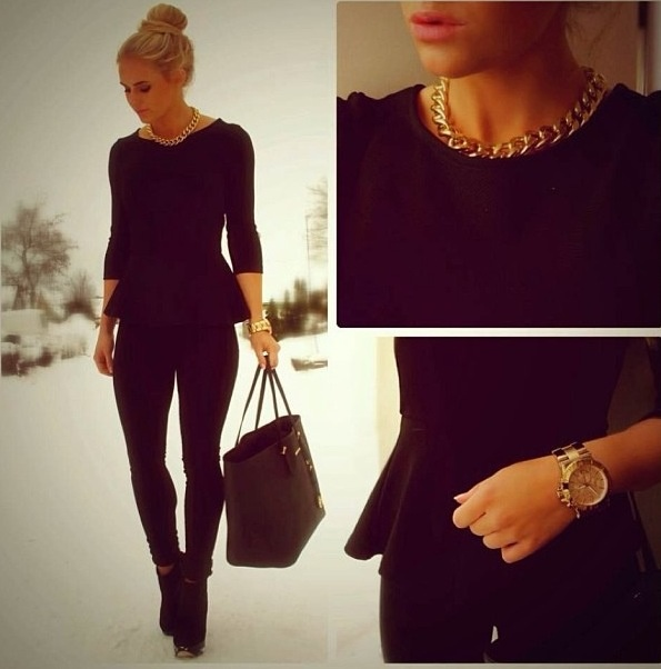 Black Outfit   Peplum Top   Gold Accesories  you can never go wrong with to much black love it!!