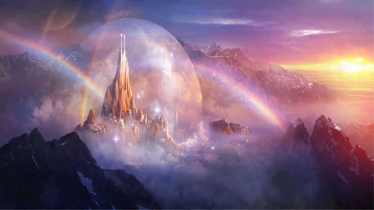 Fantasia Castelo  Rainbow Mountain Paisagem Papel de Parede