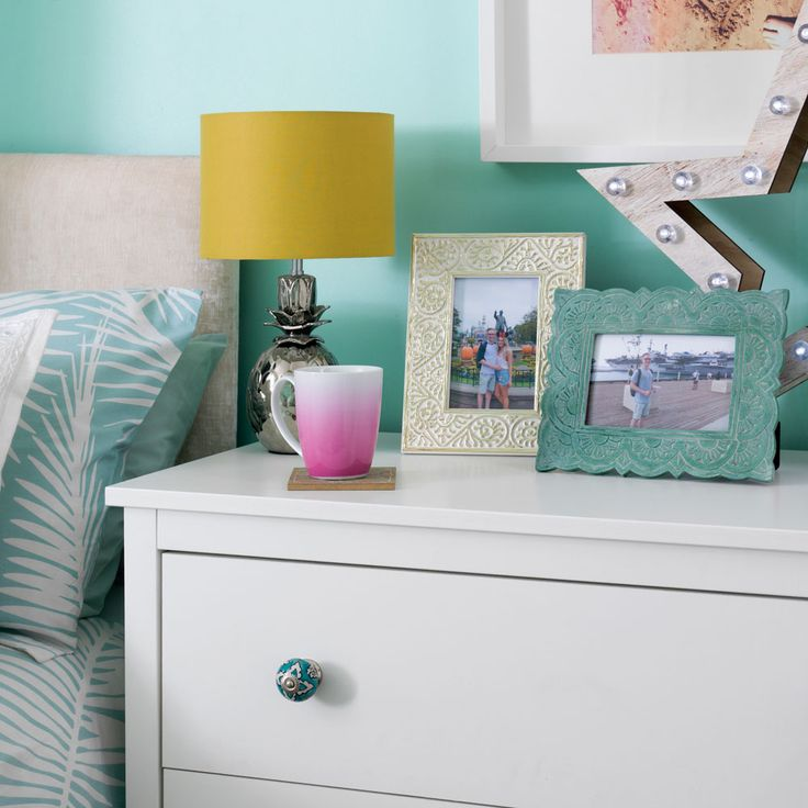 Our Turquoise beachy bedroom featured in our home tour on the Ideal Homes site