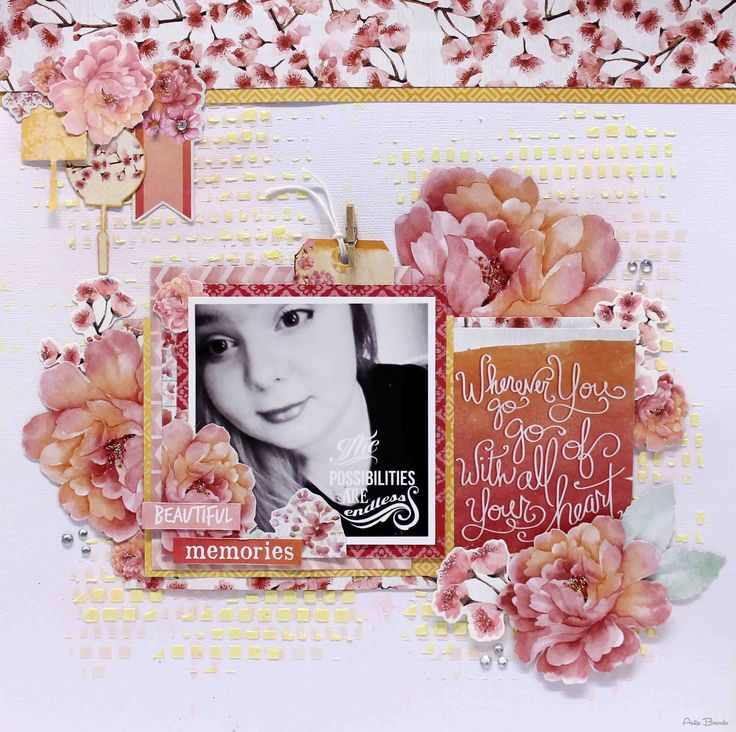 """""""Beautiful Memories"""" layout - Anita Bownds DT Member Kaisercraft Cherry Blossom Collection ~ Scrapbook Pages 1."""