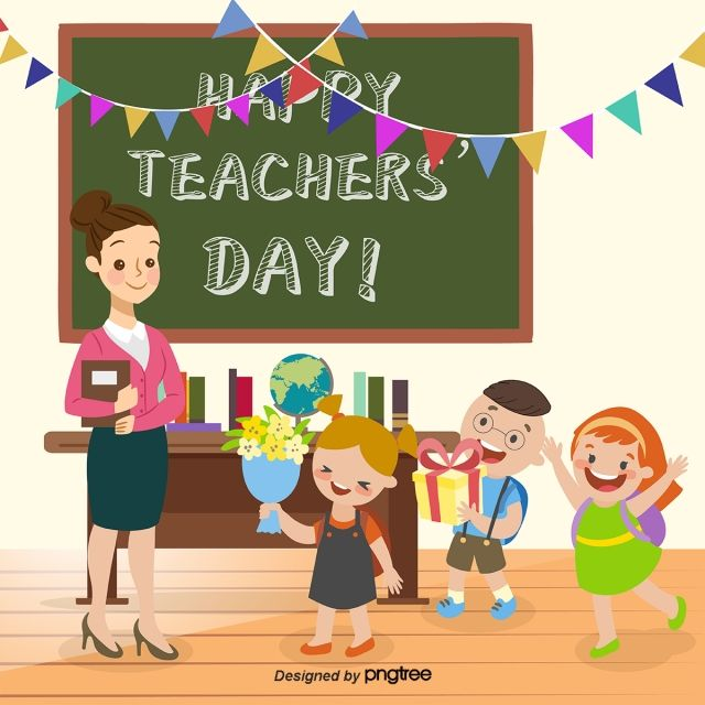 Happy Teachers Day The Girl Give Flowers Vector And Png In 2020 Happy Teachers Day Card Happy Teachers Day Teachers Day Card