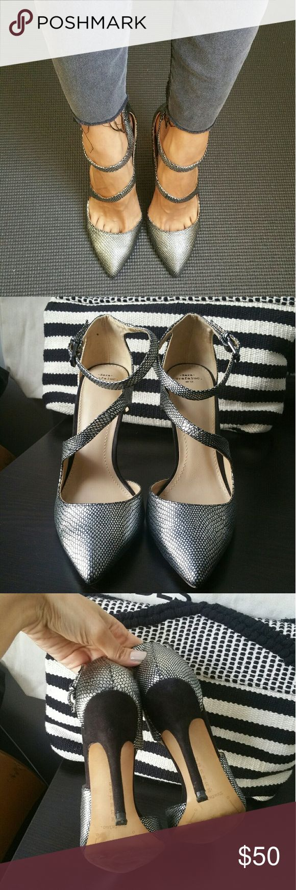 ZARA Silver Straps Shoes *Rare item* ZARA statement heels, amazing design, go with everything. Very hard to find item. Size US 6 / EUR 36. Tight fit. Super comfortable to walk in. Worn very few times. Have a dark spot as pictured on the inside part of the left shoe, bought them new at the store already like that. One of my personal favorites, will not be too flexible on price. Zara Shoes Heels