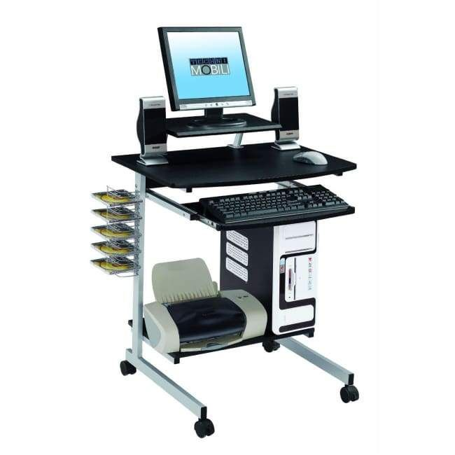 Mobile Compact Computer Cart Desk With Keyboard Tray Mobilier