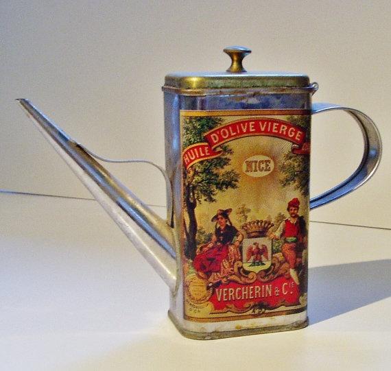 Vintage Olive Oil Can Nice France Home Decor Kitchen