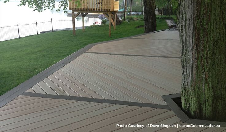 Adding different colored composite deck boards creates for White composite decking