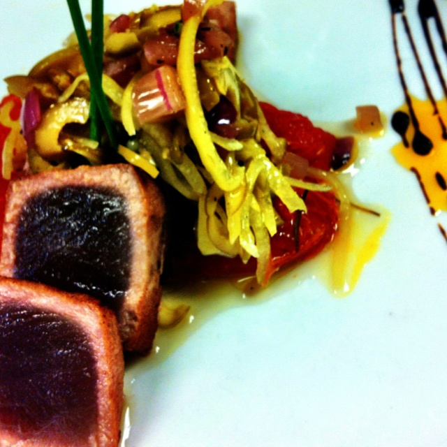 spice pan seared ahi tuna with herb confit tomatoes and a preserved ...