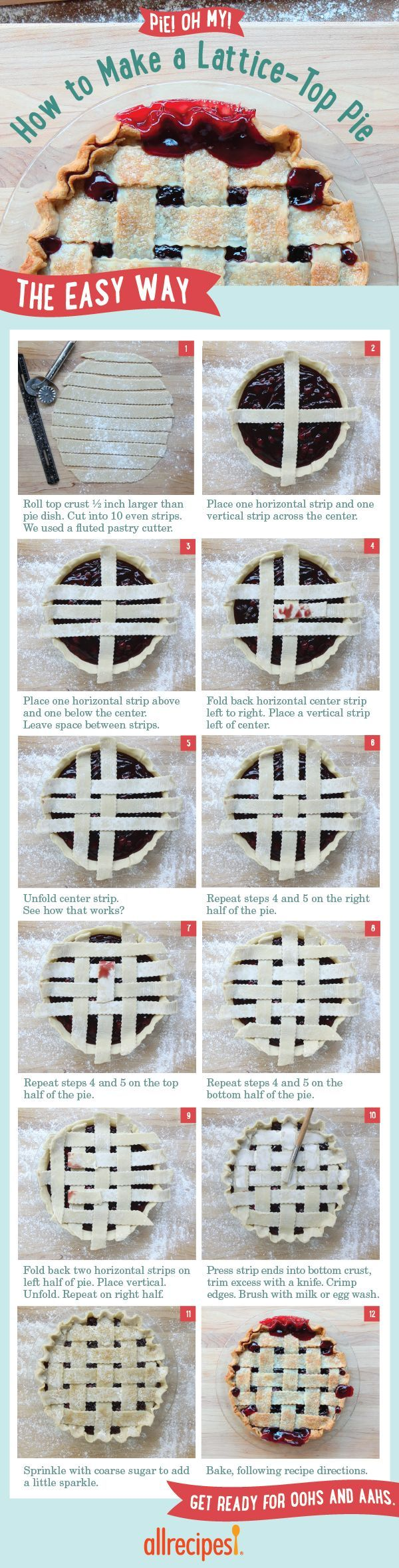 How To Make A Lattice Pie Crust The Easy Way | A lattice-top pie crust may look a little fancy. But these easy-to-follow steps help you weave pie dough like a pro.