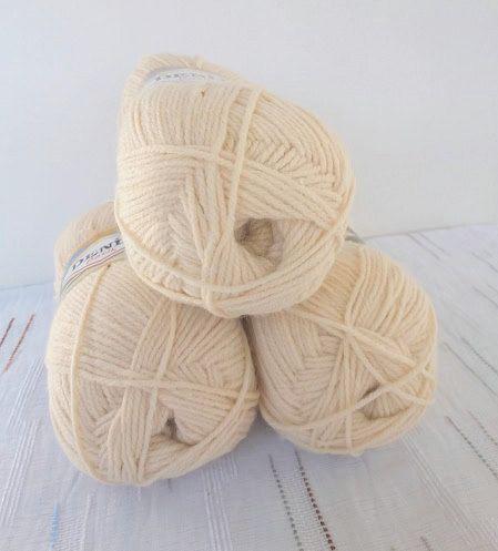 knitting yarn, classic yarn, acrylic yarn,light beige yarn, Each skein: 100 gr by Yarnshopping on Etsy