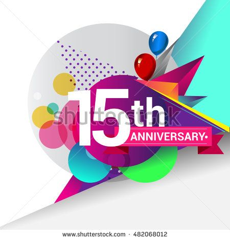 15th Anniversary logo, Colorful geometric background vector design template elements for your birthday celebration.