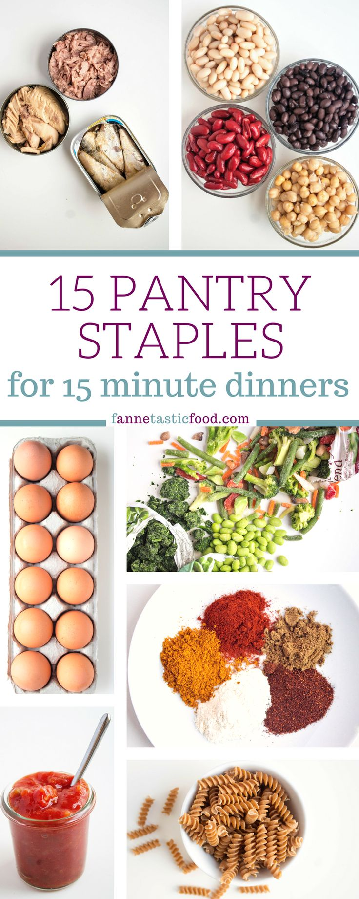 These 15 Pantry Staples are all you need to make a variety of 15 minute dinners. They're all either shelf stable or have a long shelf life, so you can stock up and make a healthy 15 minute dinner even when you haven't been to the store in a while!  | healthy dinner ideas | fast weeknight meals | easy dinner recipes | one pot meals | vegetarian meal ideas | healthy pantry staples |