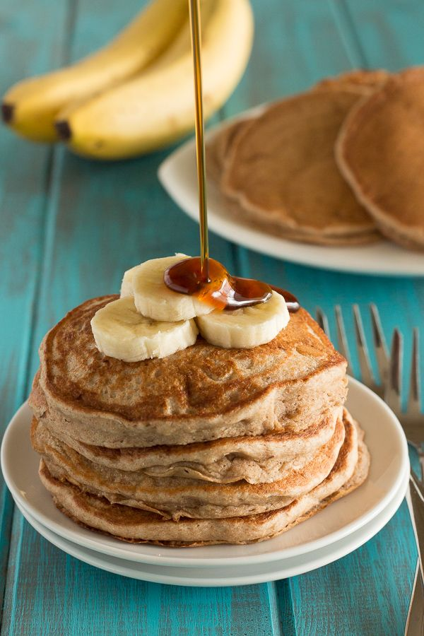 Fluffy Vegan Whole Wheat Banana Pancakes. Made these this morning. They really ARE fluffy and possibly the best pancakes I've ever eaten!  Omitted the oil too and still perfect!