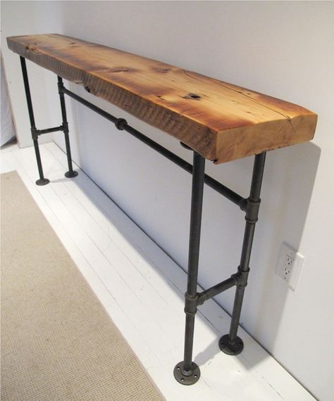 Industrial Style Steel Pipe Pine Wood Tables Desks A: Reclaimed Wood Industrial Console Wood Steel Console