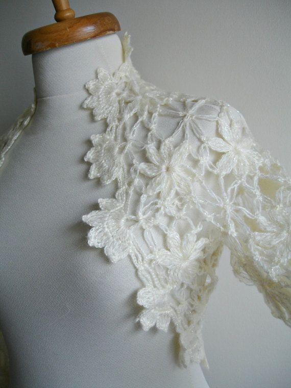 Wedding Bolero Ivory Shrug  Bridal  Bolero  Long by crochetlab, $56.00