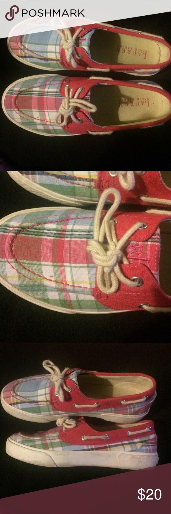 Lauren Ralph Lauren Plaid Boat Shoes Pink plaid boat shoes. Minor signs of wear. Lauren Ralph Lauren Shoes Flats & Loafers