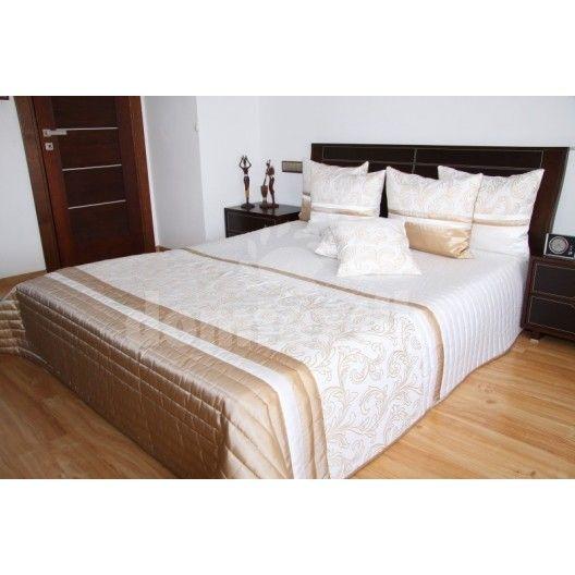 Prehoz na posteľ bielo béžovej farby s ornamentmi
