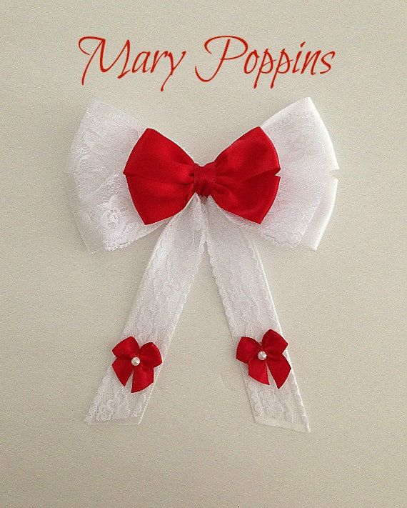 Disney inspired Mary Poppins hair bow by BellaRayneDesigns on Etsy