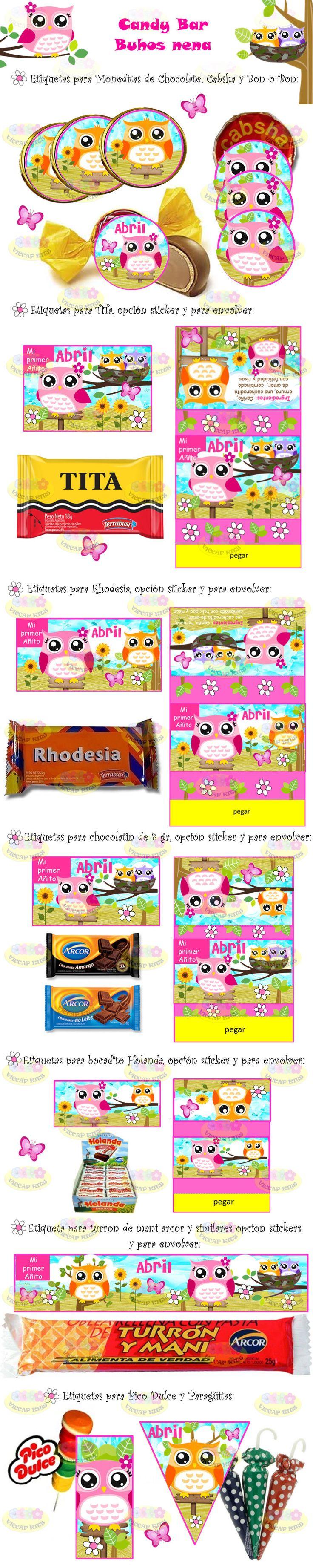 (8) Kit Imprimible Lechuzas Buhos Candy Bar Invitaciones Cajitas - $ 44,99 en MercadoLibre