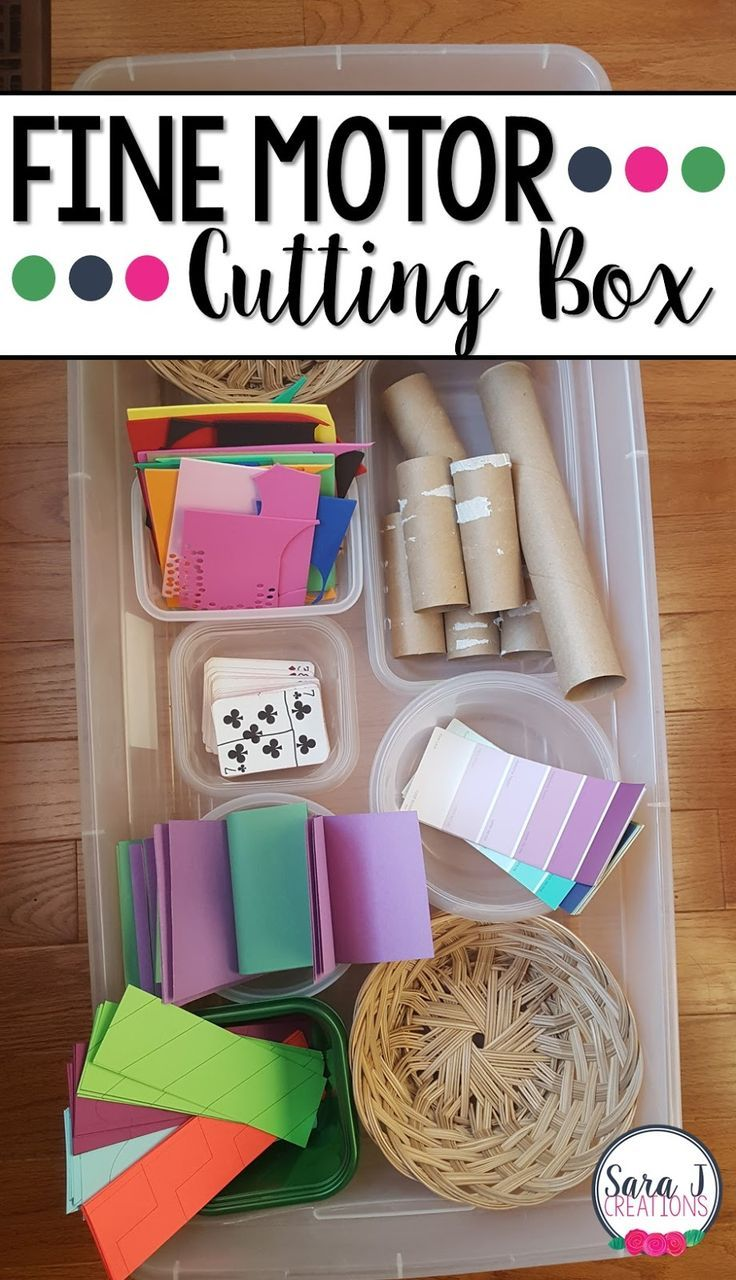 Setting up a cutting box is a great way to have fine motor cutting practice for kids!
