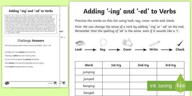 Year 1 Spelling Practice Adding Ing And Ed To Verbs Homework Worksheet Spelling Practice Verb Worksheets Spelling Practice Worksheets Ing worksheets grade 1