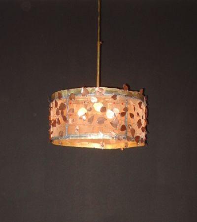 Handmade pendant lamp made of brass, copper and brass net.