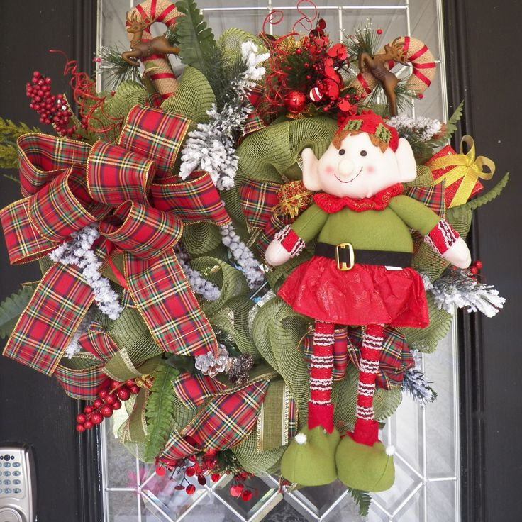 Whimsical Christmas Wreath, Deco Mesh Wreaths, Elf Wreath, Christmas decoration, Holiday wreaths, Front door wreath, Ready to Ship by OccasionsBoutique on Etsy