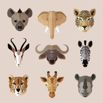 African southern animal portrait flat icons set with hyena elephant jaguar isolated vector illustration