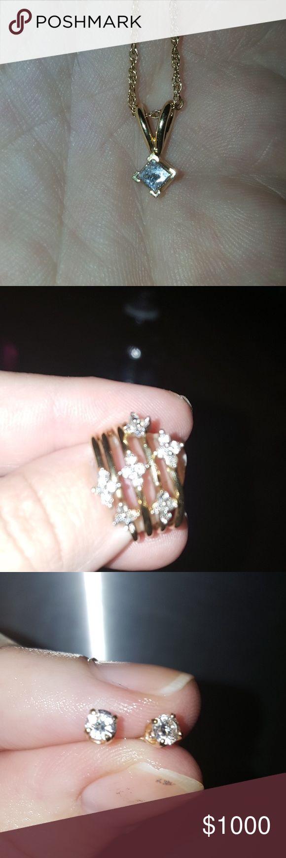 14 k gold jewelry bundle .50 ct diamond earrings and .50 ct diamond necklace and .50 ct diamond ring. The earrings and necklace is 14 k gold yellow and ring is 10 k gold yellow and is size 6 great deal ring was 999. Earrings were 899 necklaces was 1299 Jewelry Earrings