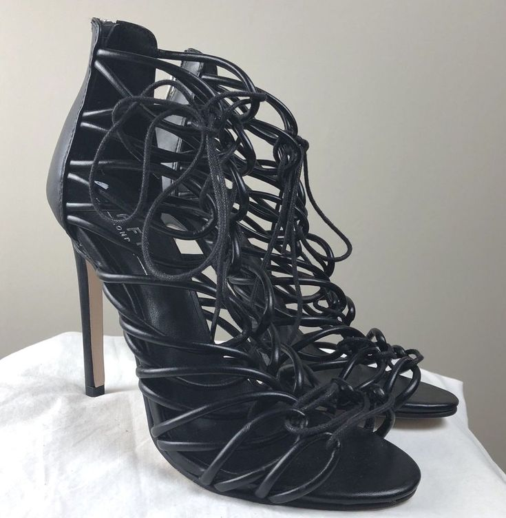 Office Strappy Lace Up High Heels Cage Shoes Sandals Black Size 5 (38)