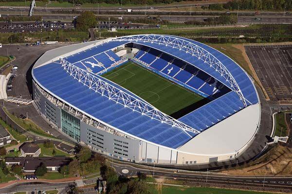 Brighton & Hove Albion FC: Aerial view of the Amex Stadium in Falmer, Brighton #bhafc