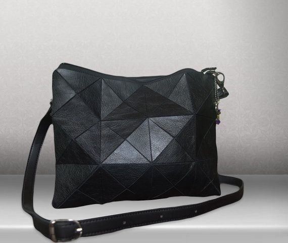NEW Vintage Black Leather crossbody bag Womens door PurJusShop