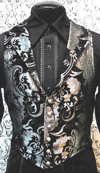 Shrine aristocrat victorian silver tapestry gothic vest jacket vampire steampunk