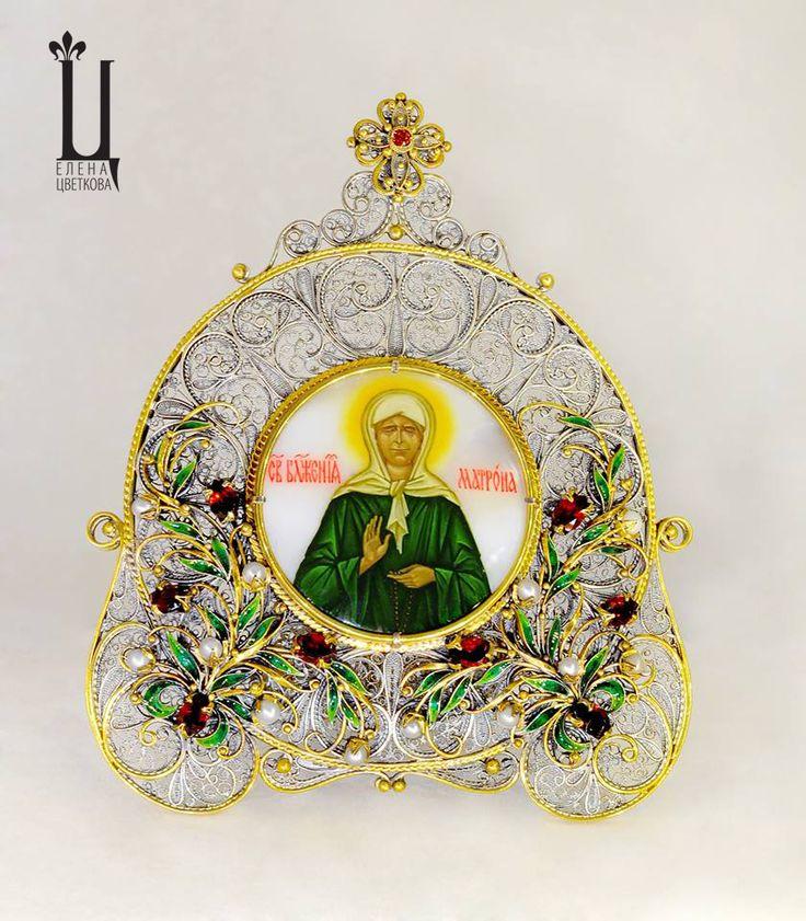 """Икона """"Матрона"""".Золото,серебро,цветные сапфиры,гранаты.Филигрань,горячая витражная эмаль,живопись по перламутру. Икона освящена в алтаре Коневского Рождество-Богородичного монастыря,"""