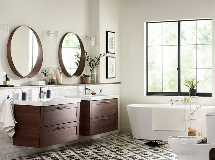 Bathroom:Marvelous Double Bowl Bathroom Sink Vanities With Round Mirrors And White Freestanding Tub Ikea Bathroom Furniture Ideas With Nice Designs