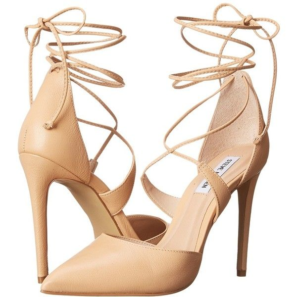 Steve Madden Raela High Heels ($110) ❤ liked on Polyvore featuring shoes, pumps, heels, high heels, pointy-toe pumps, steve-madden shoes, steve madden, ankle wrap pumps and pointed toe ankle strap pumps