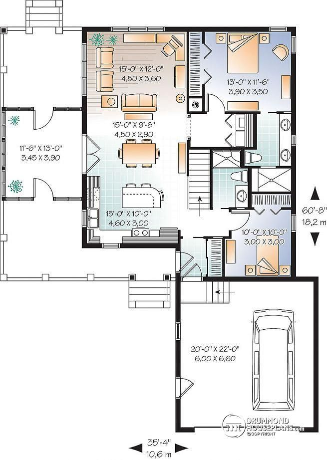 303 best 1 000 1 500 sq ft images on pinterest for House plans for empty nesters