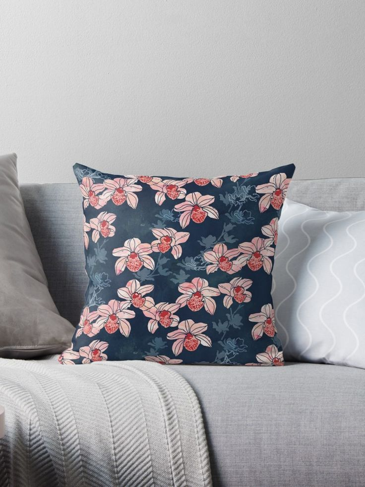 Orchid floral pattern in navy blue and peach watercolor. • Also buy this artwork on home decor, apparel, phone cases, and more.